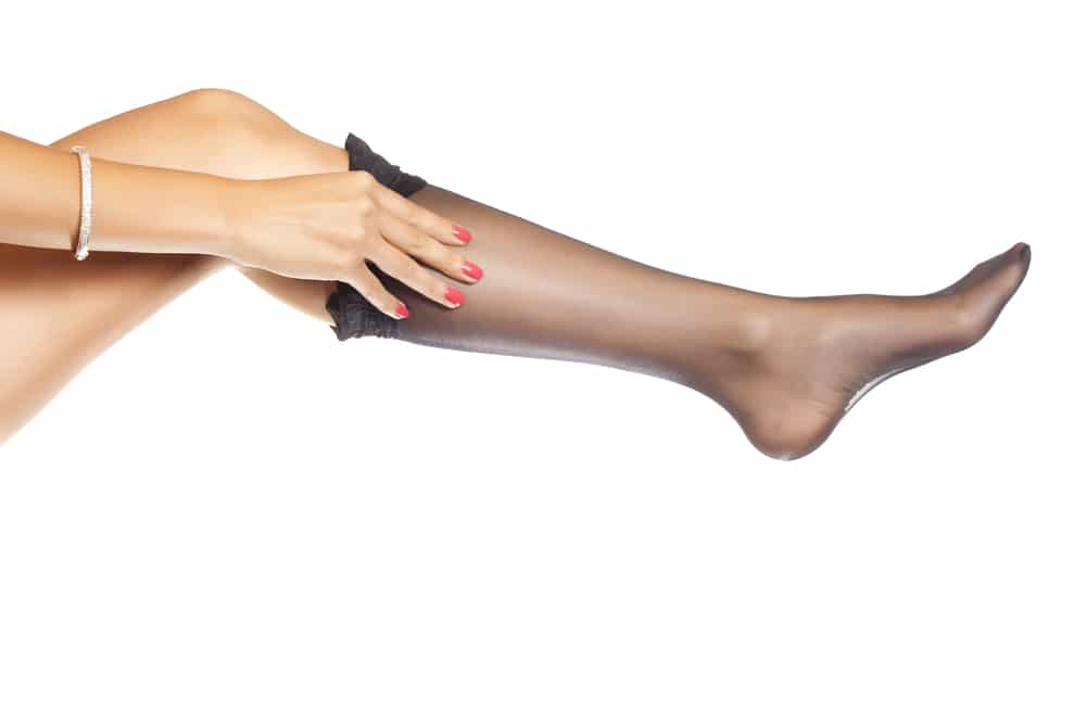 woman put Nylon stockings