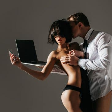 man woman sexy with laptop