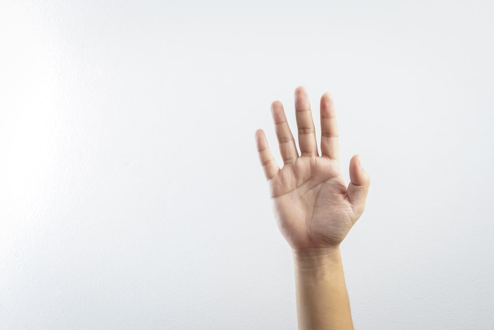woman hand asking for help