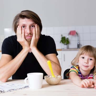 dad and daughter in kitchen