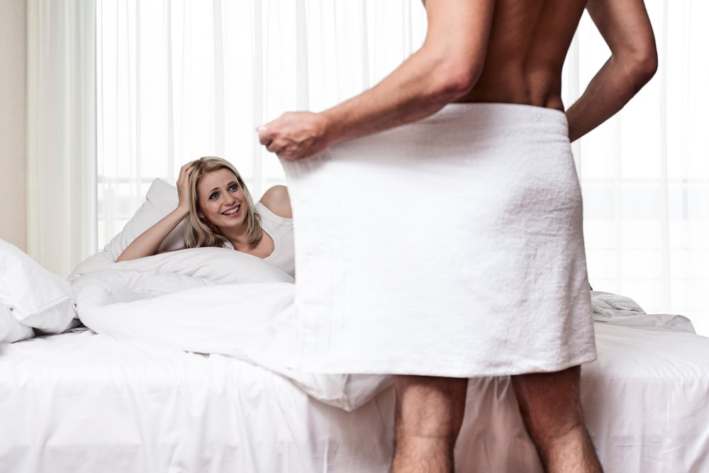 man showing body to woman