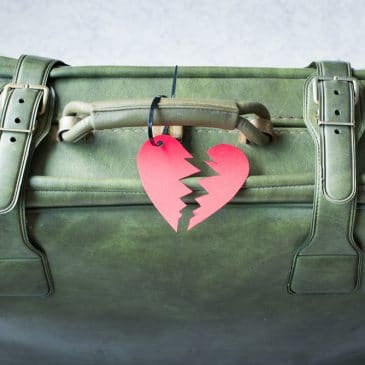 suitcase broken heart breakup concept