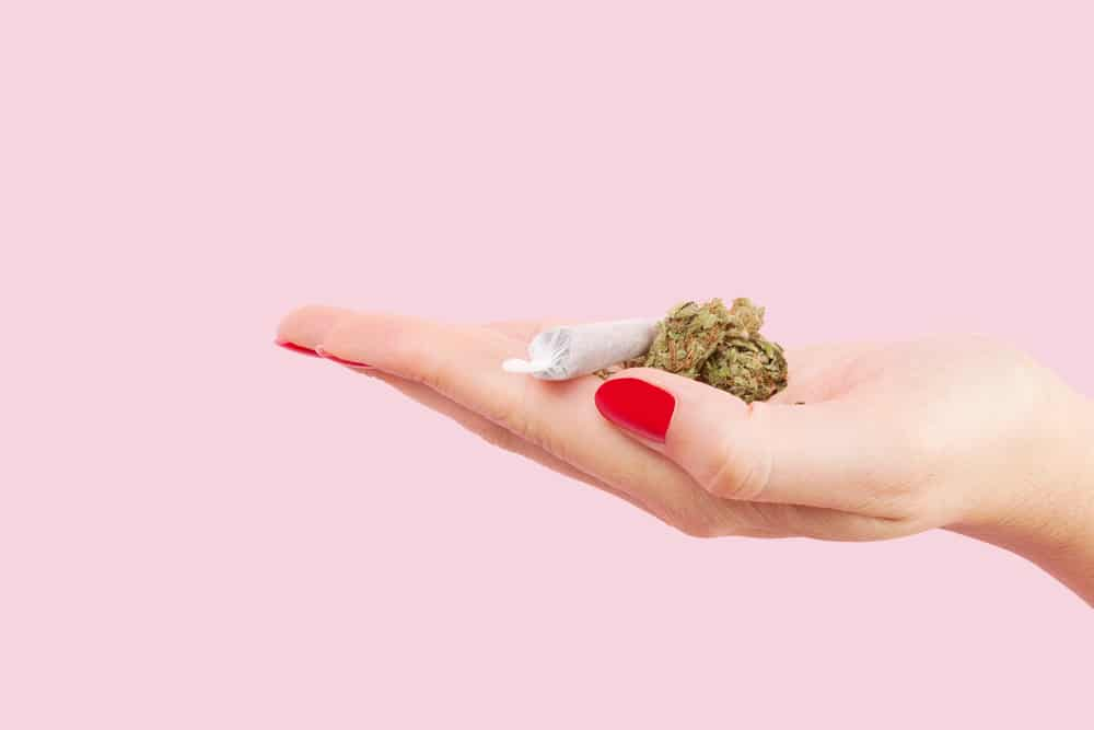 woman hand with cannabis