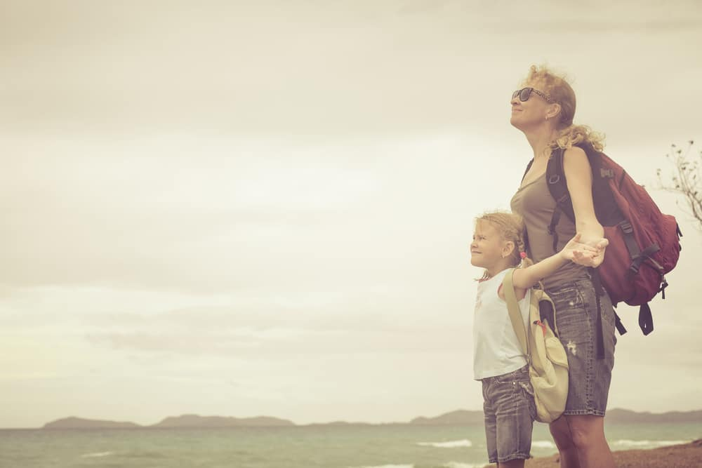 woman and kid trip