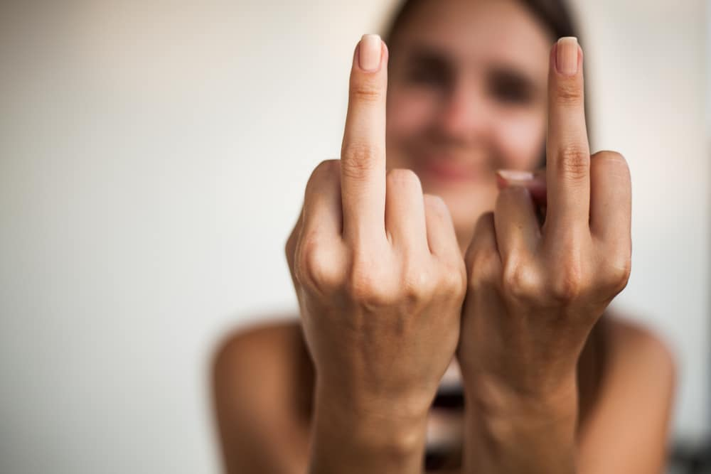 woman middle finger