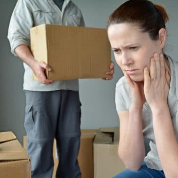 unhappy woman man moving