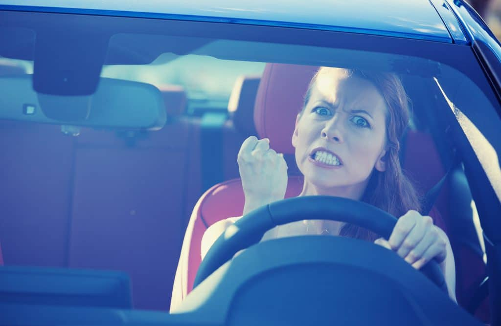 angry woman in car