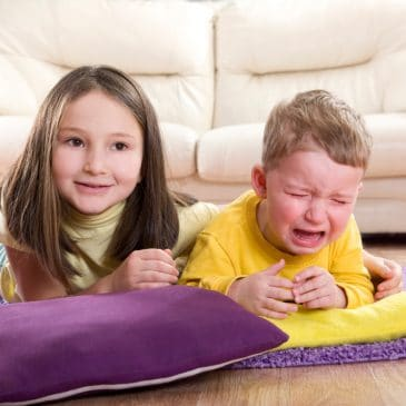 sibling fight baby cry