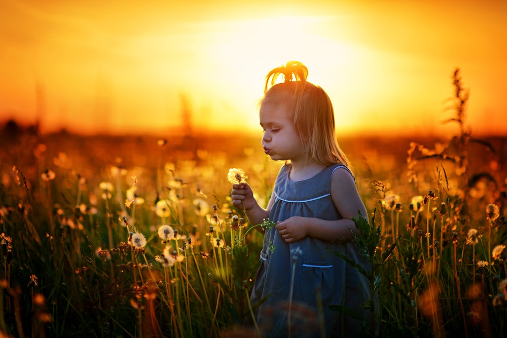 little girl with sun and flowers