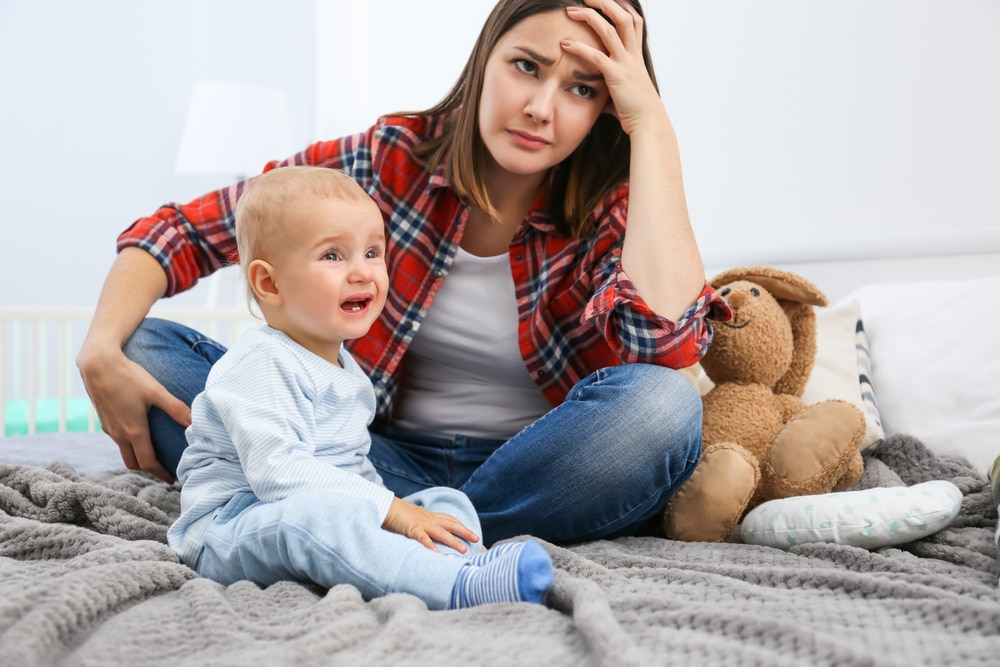 stressed mom with kid