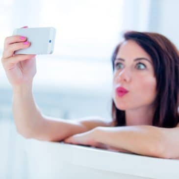 woman selfie in the bath