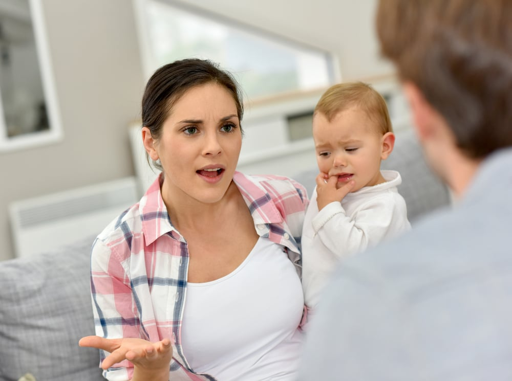 mother angry with baby
