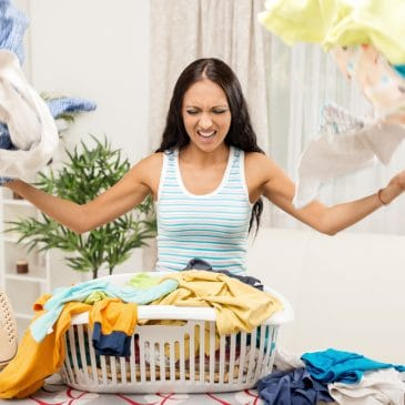 angry woman with laundry