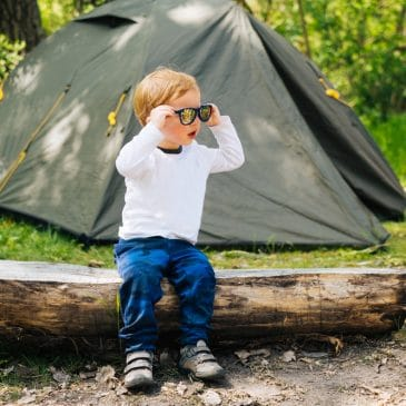little boy camping