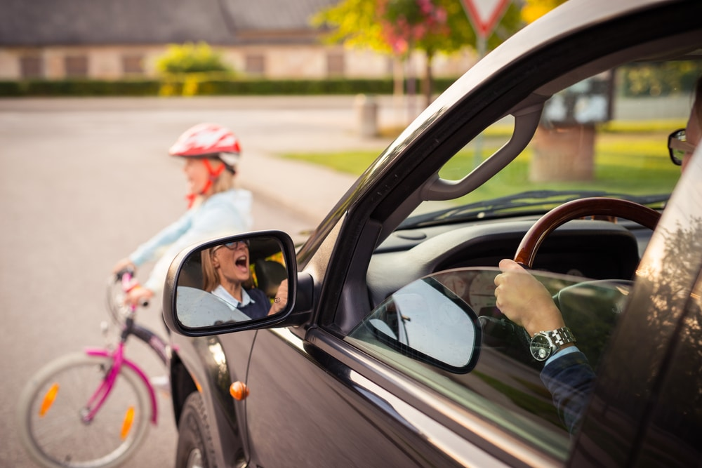 car and bicycle accident