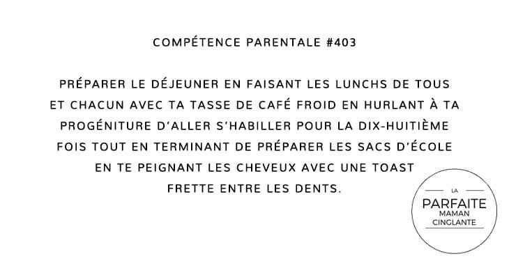 COMPETENCE 403 DÉJEUNER