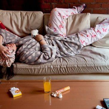 woman hangover living room