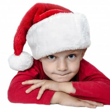 young boy xmas hat