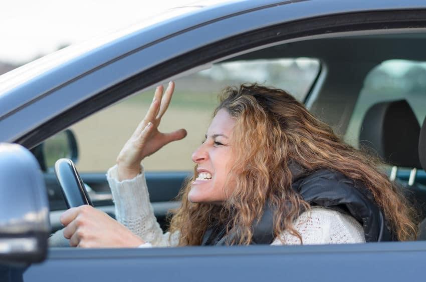 woman angry drive car