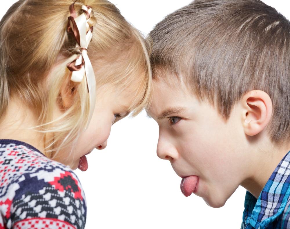two kids angry