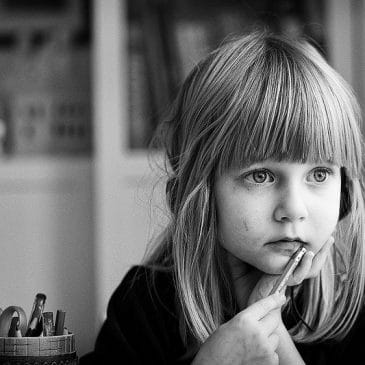 little girl thinking