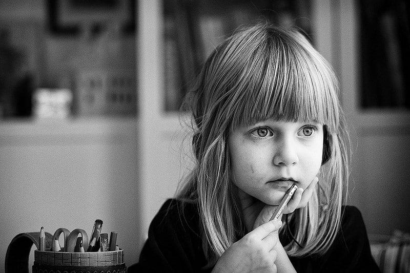 little girl thinking