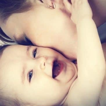 woman baby hug