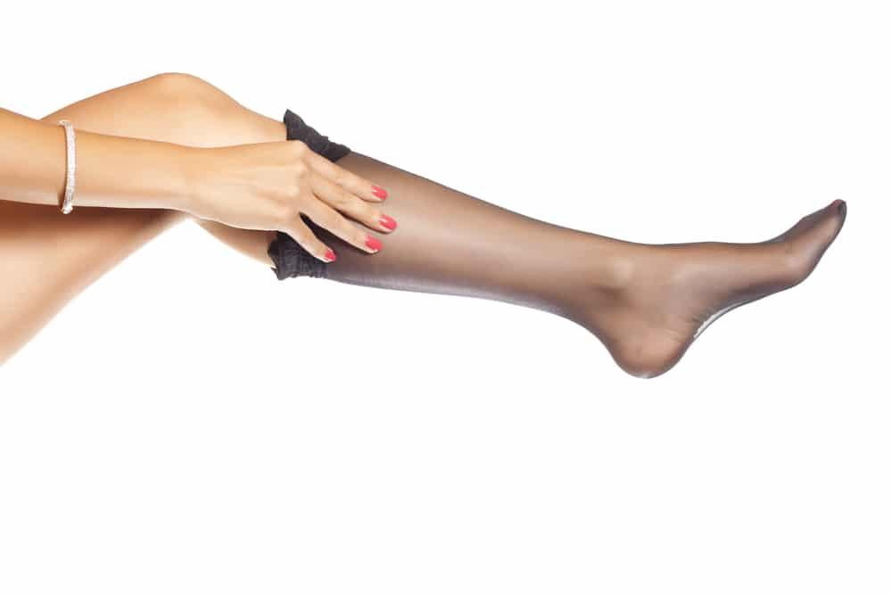 woman put Nylon stockings