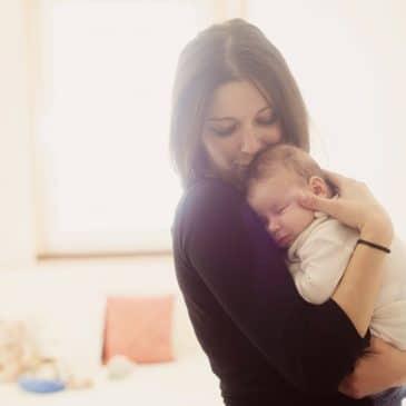 woman hug baby