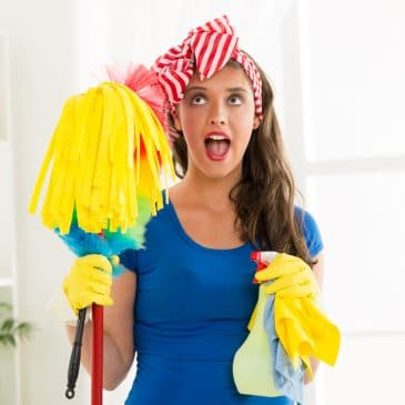housewife cleaning floor