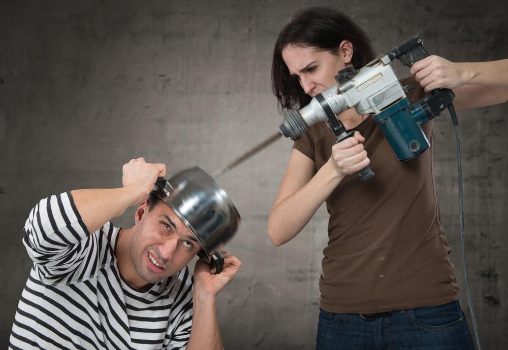 woman drill man
