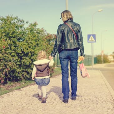 woman leaving with kid