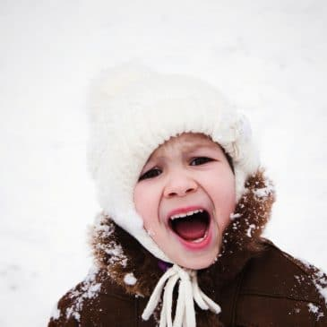 little girl in winter yell