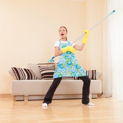 woman dancing in living room
