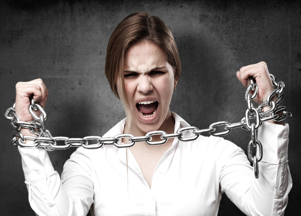 woman break chains