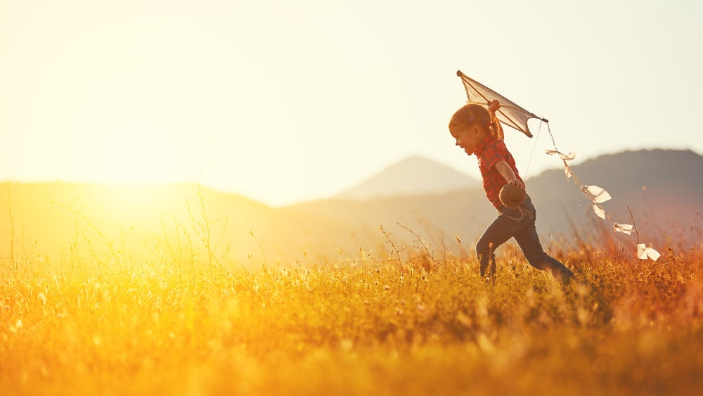 kit with kite at sunset