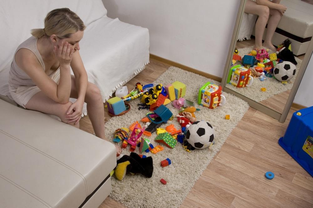 woman toys mess