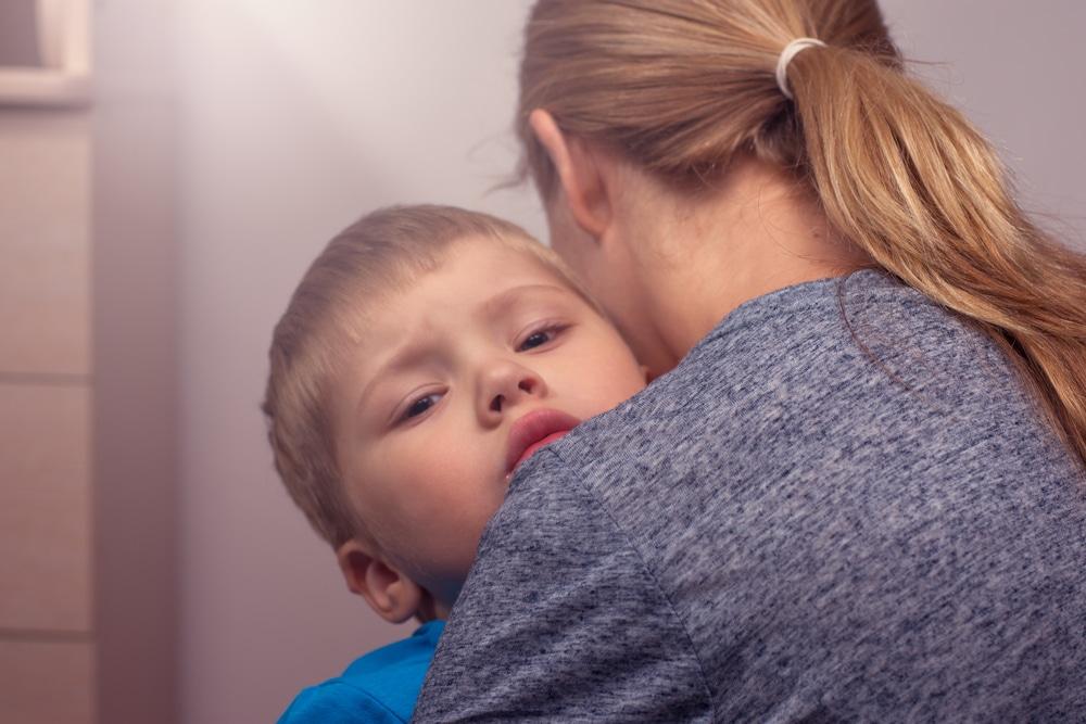 mother hug son
