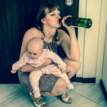 woman drunk with baby