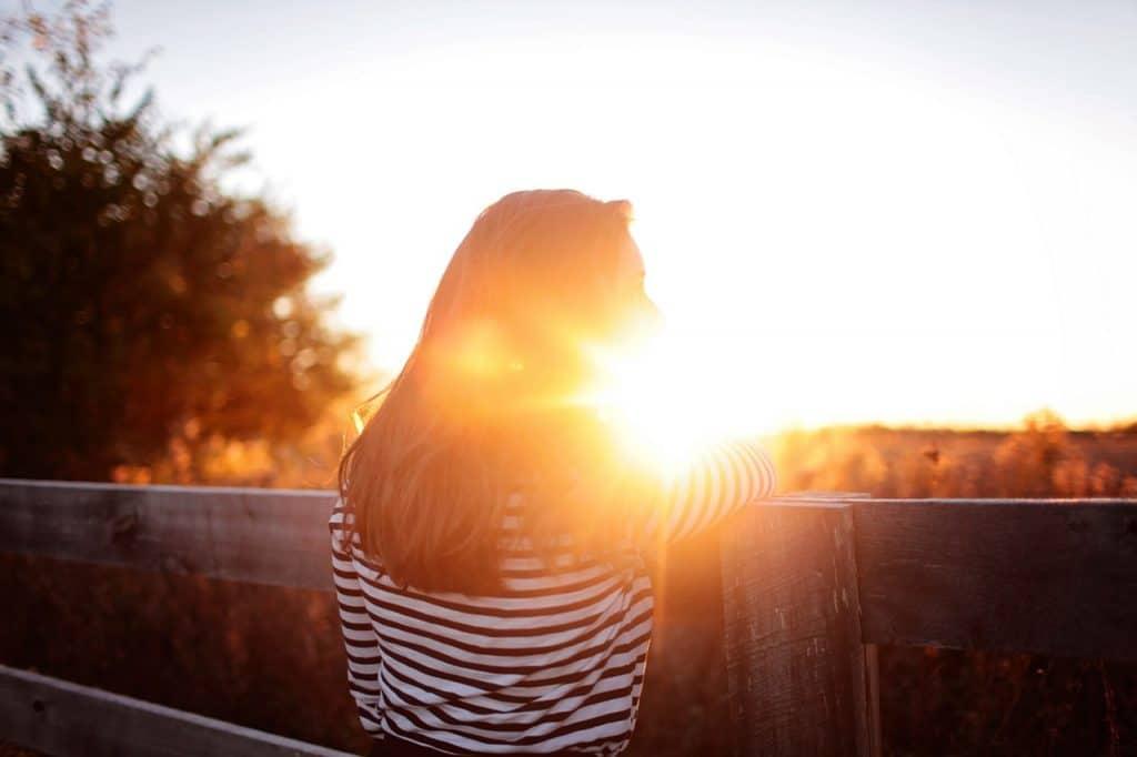 woman alone in sun