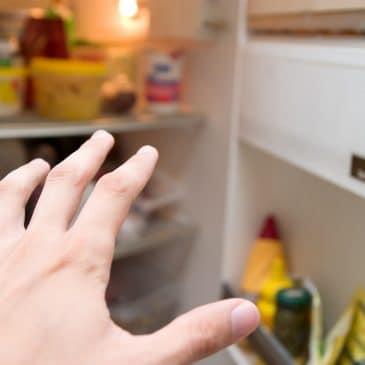 hand in front fridge