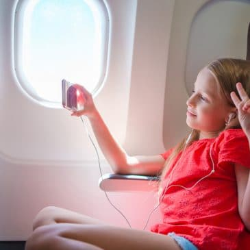 girl travel airplane