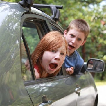 angry kids in a car