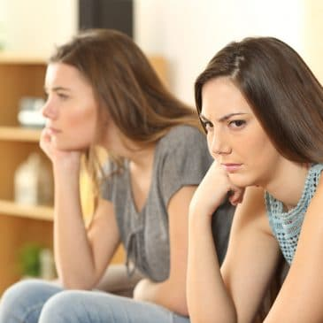 unhappy women friends