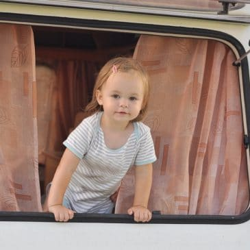 little girl in caravan
