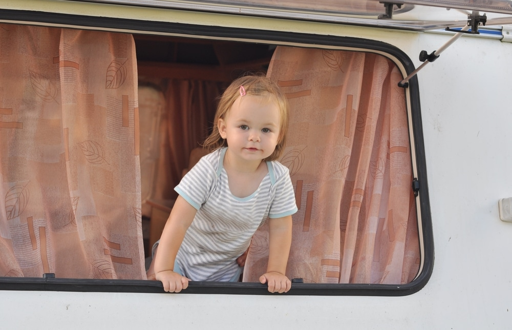 little girl in caravan