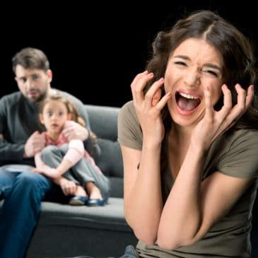 screaming woman with father and daughter