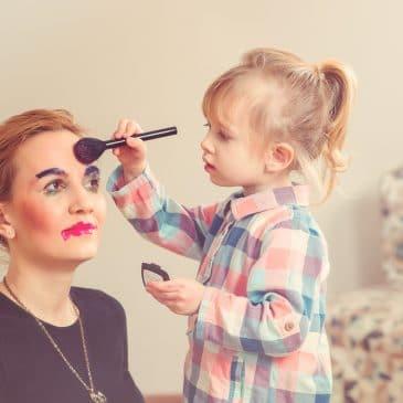 little girl makeup mother