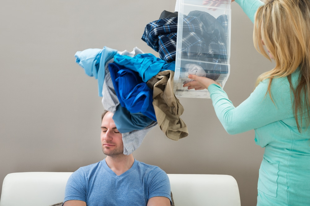 woman man laundry
