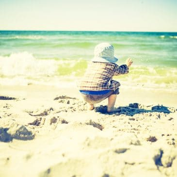 kid on beach vintage